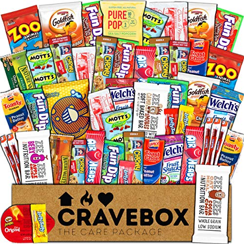 CraveBox - Care Package (50 Count) Snack Box - Variety Assortment Bundle of Snacks, Candy, Chips, Chocolate, Cookies, Granola Bars, for Students, Office, Midterms, Spring Final Exams, Easter -