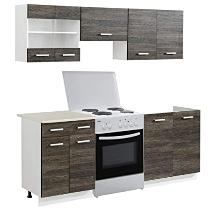 Conjunto modular de 5 muebles de cocina color wengué, con horno ...