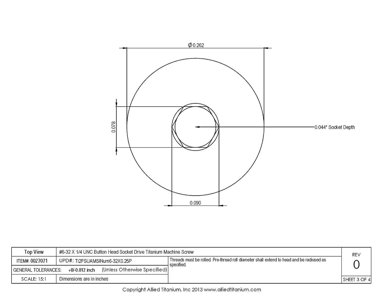 Grade 2 #6-32 X 1//4 UNC Button Head Socket Drive Machine Screw CP Pack of 10 Allied Titanium 0027071,