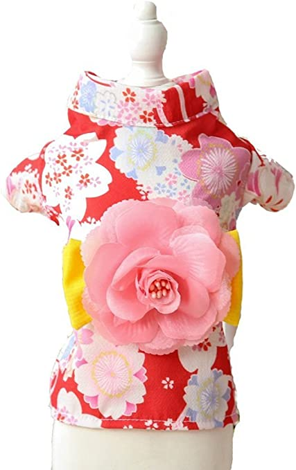 Pug Extra Small Dog Wiener Dog Teddy Shih Tzu MaruPet Brocade Japanese Kimono for Girl Floral Pet Halloween Costume Bowknot Dog Dress for Small Chihuahua Yorkshire Terriers Papillon