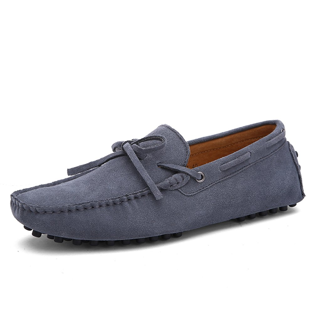 Sherry Love Men's Penny Loafers Driving Suede Shoes Slip On Flats Boat Shoes-Grey 44EUR