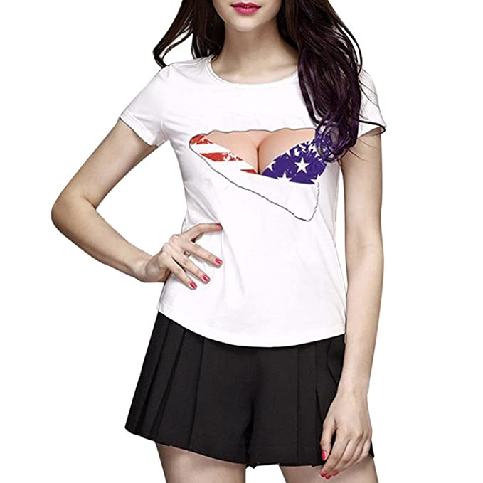 d7556f72019fe5 TATGB Women s Sexy Boobs American Flag Print Short Sleeve Tunic Tops  Blouses at Amazon Women s Clothing store