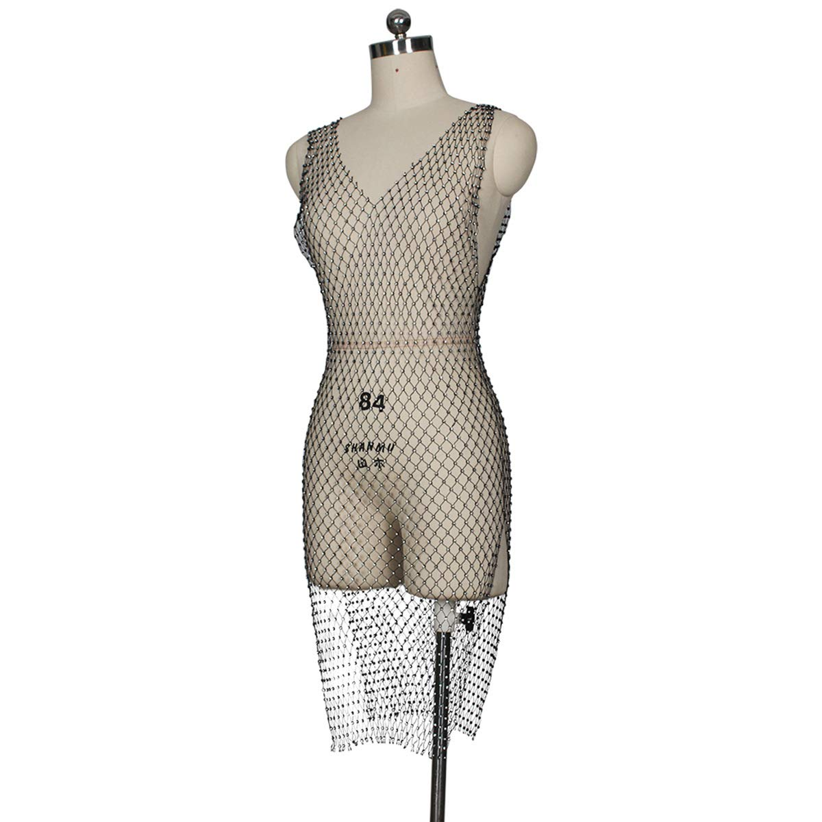 Mycherish Womens Sexy Sleeveless V Neck Mess See Through Side Split Beading Pearls Midi Dress Black L: Amazon.co.uk: Clothing
