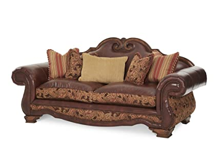 Amazon.com: Michael Amini 34915-BRICK-26 Tuscano Leather/Fabric High ...