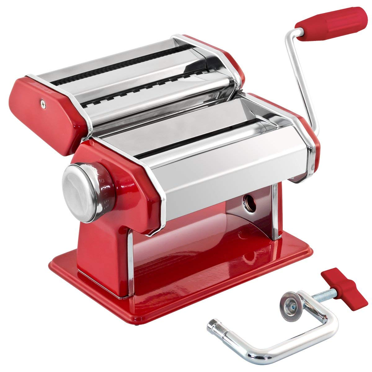 GOURMEX Stainless Steel Manual Pasta Maker Machine | With Adjustable Thickness Settings | Perfect for Professional Homemade Spaghetti and Fettuccini | Includes Removable Handle and Clamp (Red) by Gourmex