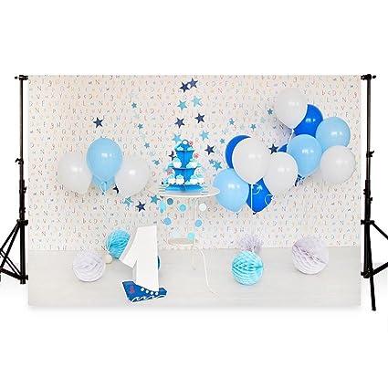 WaW Con diseño de primer cumpleaños con globos fondos ...