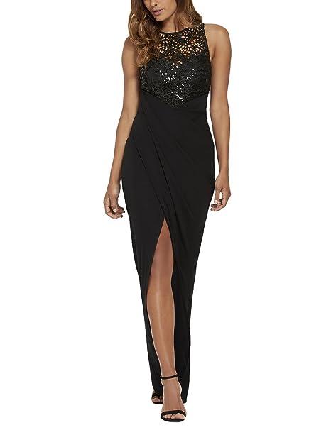 Lipsy Mujer Negro Vestido Largo Maxi Top Con Lentejuelas Fruncido Lateral Sin Mangas Casual De Moda