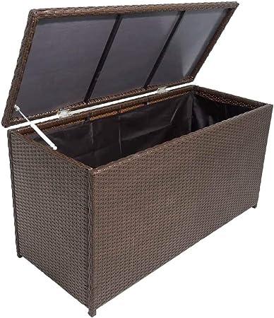 Estink - Baúl de almacenaje marrón de 120 x 50 x 60 cm, ratán de polietileno y marco de acero barnizado en polvo, baúl de jardín: Amazon.es: Hogar