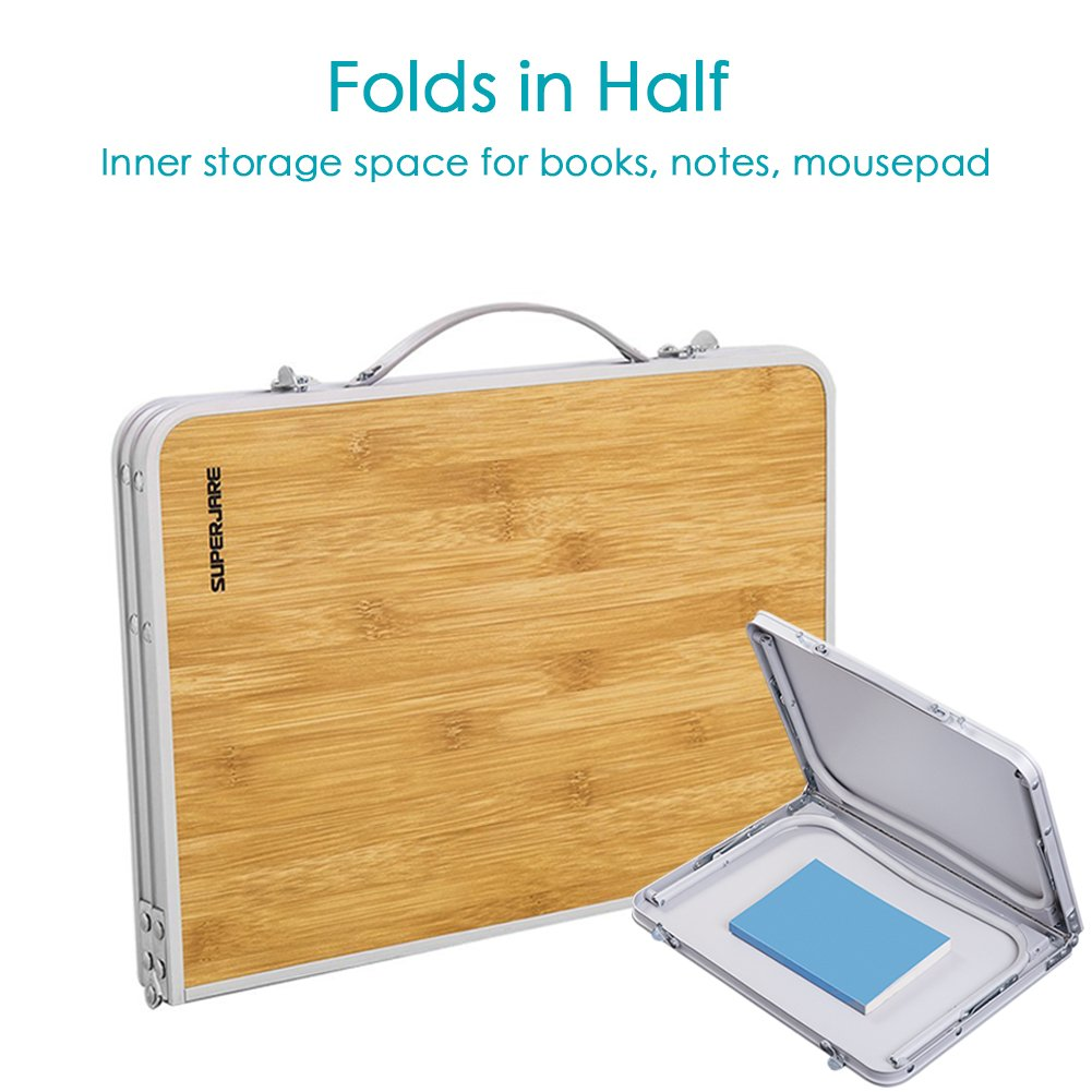 Folds in Half w Inner Storage Space Breakfast Serving Bed Tray Portable Mini Picnic Table /& Ultra Lightweight Bamboo Wood Grain Superjare Bed Desk Foldable Laptop Table