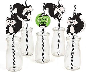 Little Stinker - Paper Straw Decor - Woodland Skunk Baby Shower or Birthday Party Striped Decorative Straws - Set of 24