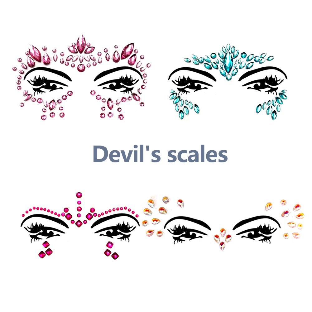 Face Gems Glitter - 8 Sets Mermaid Face Jewels Rhinestone Tattoo Face Glitter Bindi Crystals Rainbow Tears Face Gems Stickers Fit for Festival Party by LanGui (Image #3)