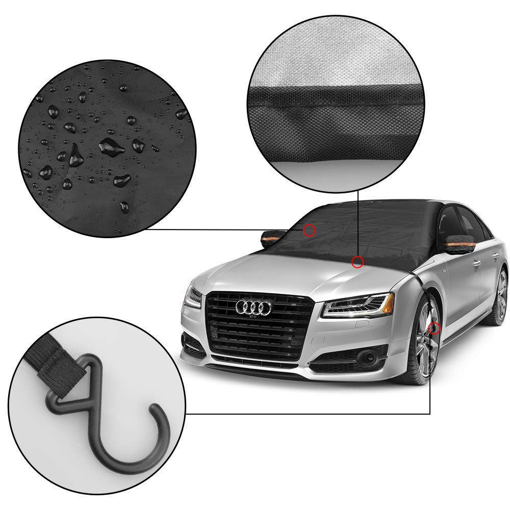 85x50 Cars and Trucks WeTong Car Windshield Snow Cover Extra Large Waterproof Scratch Resistant UV Protection Auto Snow Ice Blanket Covers with Mirror Cover for SUV