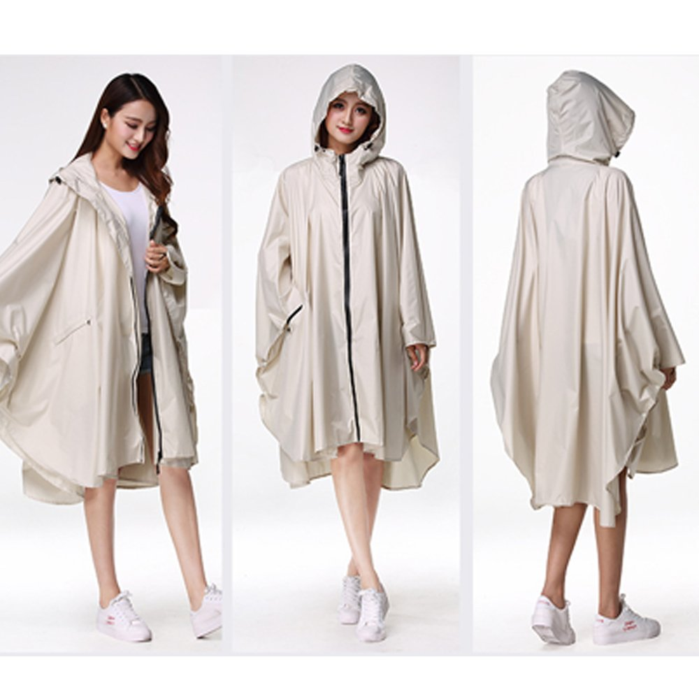 ZEVONDA Womens Rainy Clothes Outdoor Travel Riding Poncho Zipper Hooded Long Rainwear Waterproof Cloak Raincoat