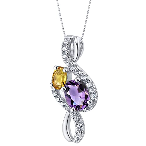 Sterling Silver Two Stone Chrous Pendant Necklace in Various Gemstones
