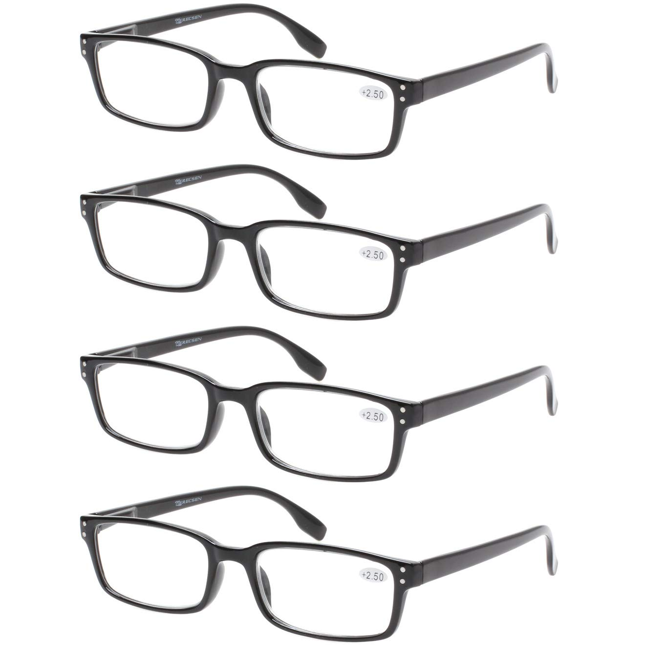 READING GLASSES 4 Pack Spring Hinge Comfort Readers Plastic Includes Sun Readers