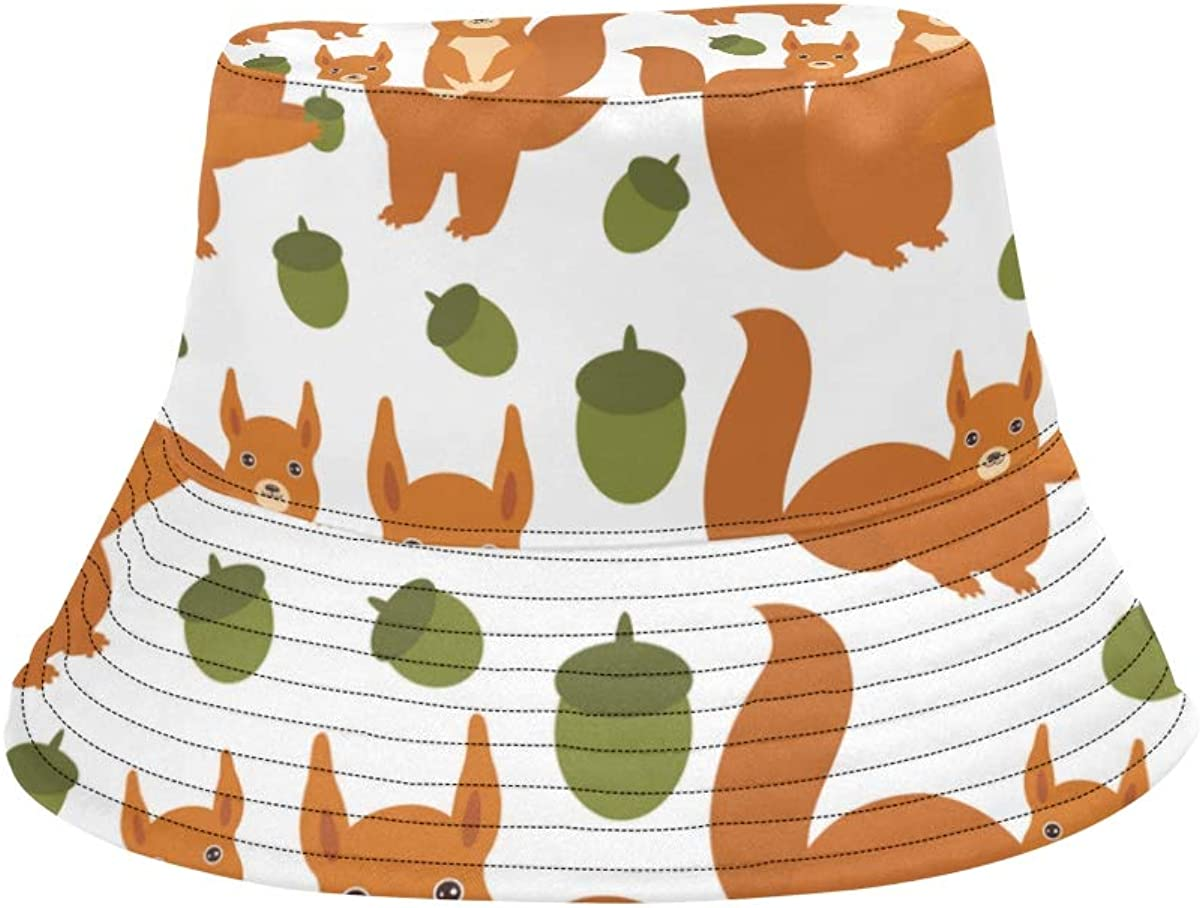Cute Squirrel Eat Nut Summer Unisex Fishing Sun Top Bucket Hats for Kid Teens Women and Men with Packable Fisherman Cap for Outdoor Baseball Sport Picnic