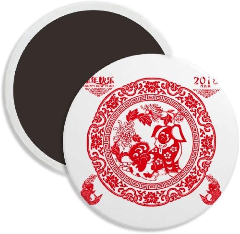 Paper Cutting Chinese New Year Dog Round Ceramics Fridge Magnet Keepsake Decoration