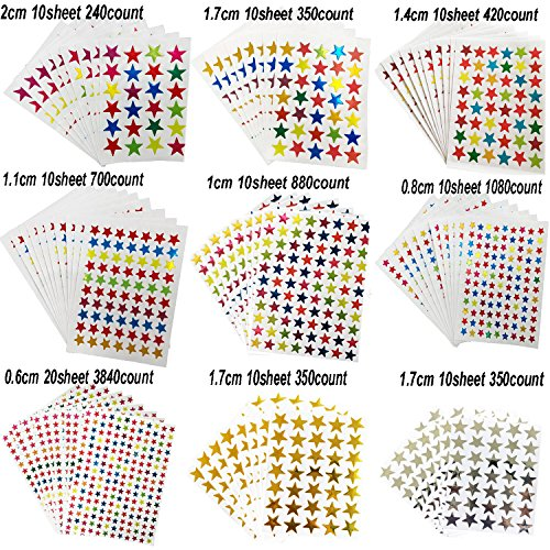Kenkio 8270 Count Colorful Star Stickers Self-adhesive Stickers Stars Labels Photo #5