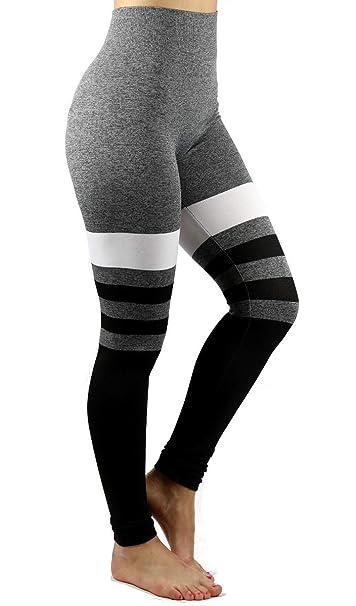 352cf22dee5d9 Just One Leggings for Women High Waist Seamless Yoga Pants, Black Grey  White Medium