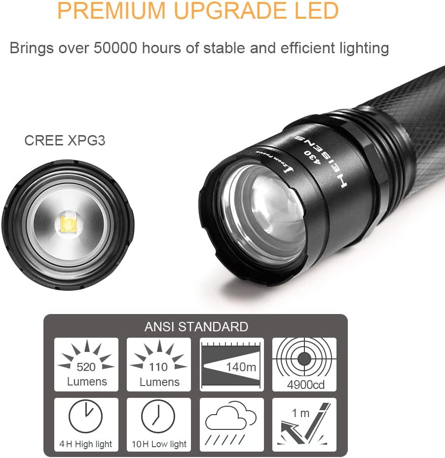 Heisens New Upgraded Rechargeable High Power and Durable Flashlight 520 Lumen CREE LED IPX4 Waterproof 3 Light Modes Zoomable Heavy Aluminum Body Best Camping Hiking Emergency Everyday Flashlights