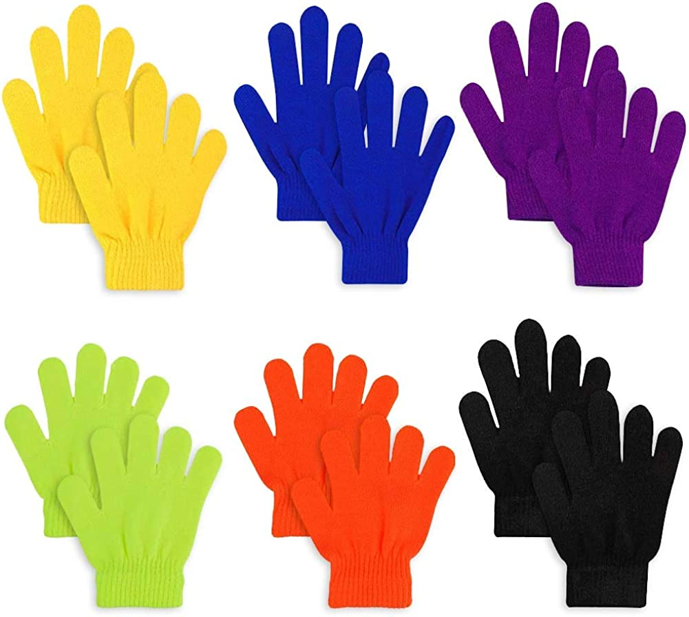 6PCS Magique Gants R/ésistant au Froid Et Facile /à Assortir Doigts Pleins Enfants Gants pour Gar/çons Filles,Activit/és Int/érieures et Ext/érieures,Cadeaux de Vacances COTEY Gants en Tricot pour Enfant