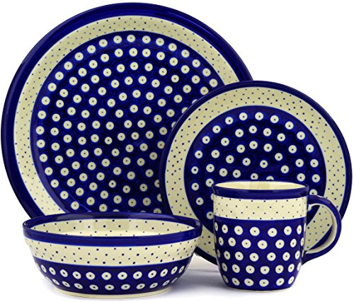 Polish Pottery 4-Piece Place Setting WAWEL (Peacock Polka Dot Theme) + Certificate of Authenticity (Place Pottery)