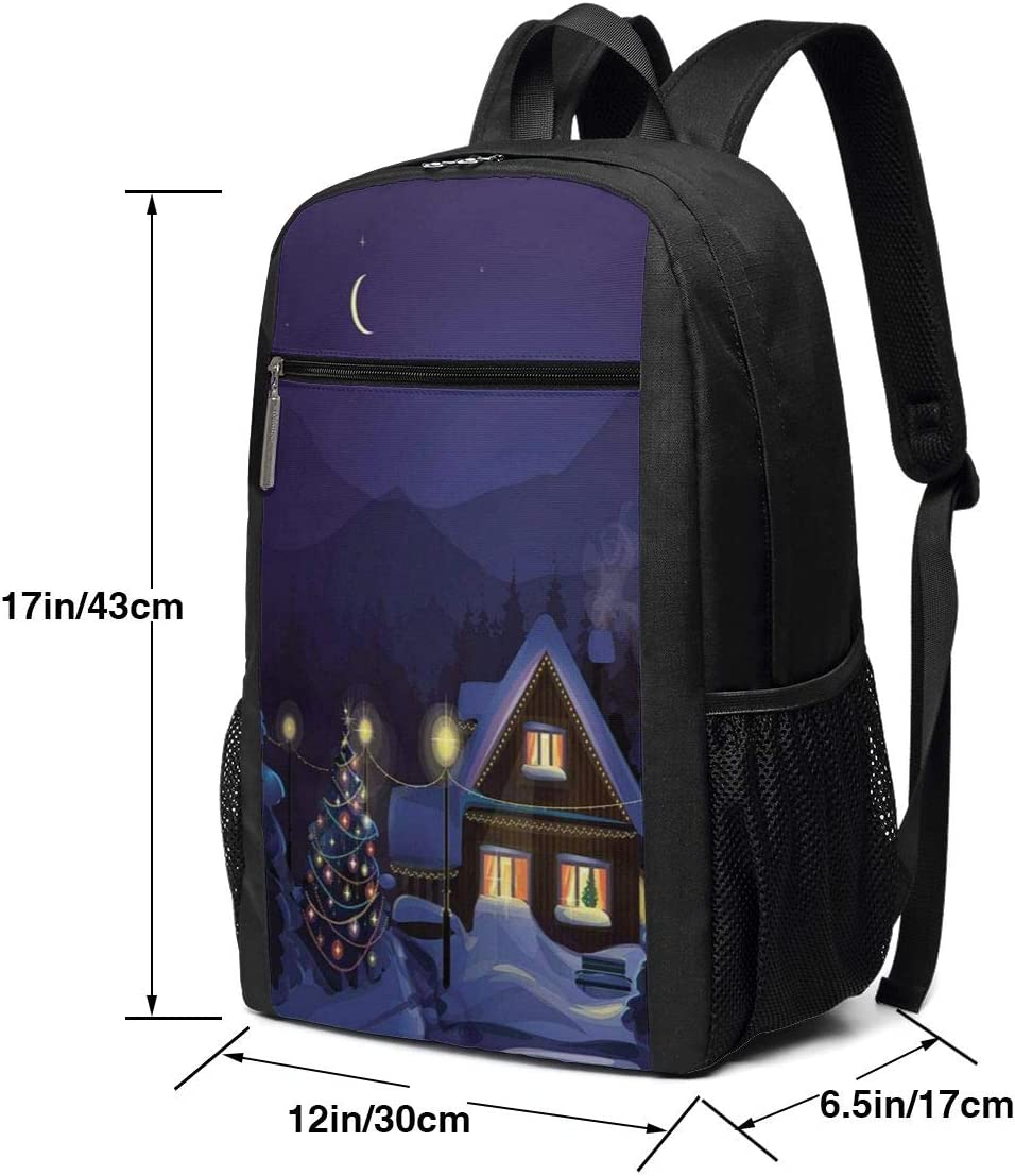 17 Inch School Laptop Backpack,Winter Scenery with Designed House and Tree at Night Family Themed Concept Art,Casual Daypack for Business//College//Women//Men