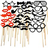 38pcs Photo Booth Props,GreenDimension Premium Bamboo Holder Mini Cardboard Funny DIY Kit With Sticks Photography Props Photo Shoots & Special Events Party Decorations Mustache Hats Glasses Lips Skull