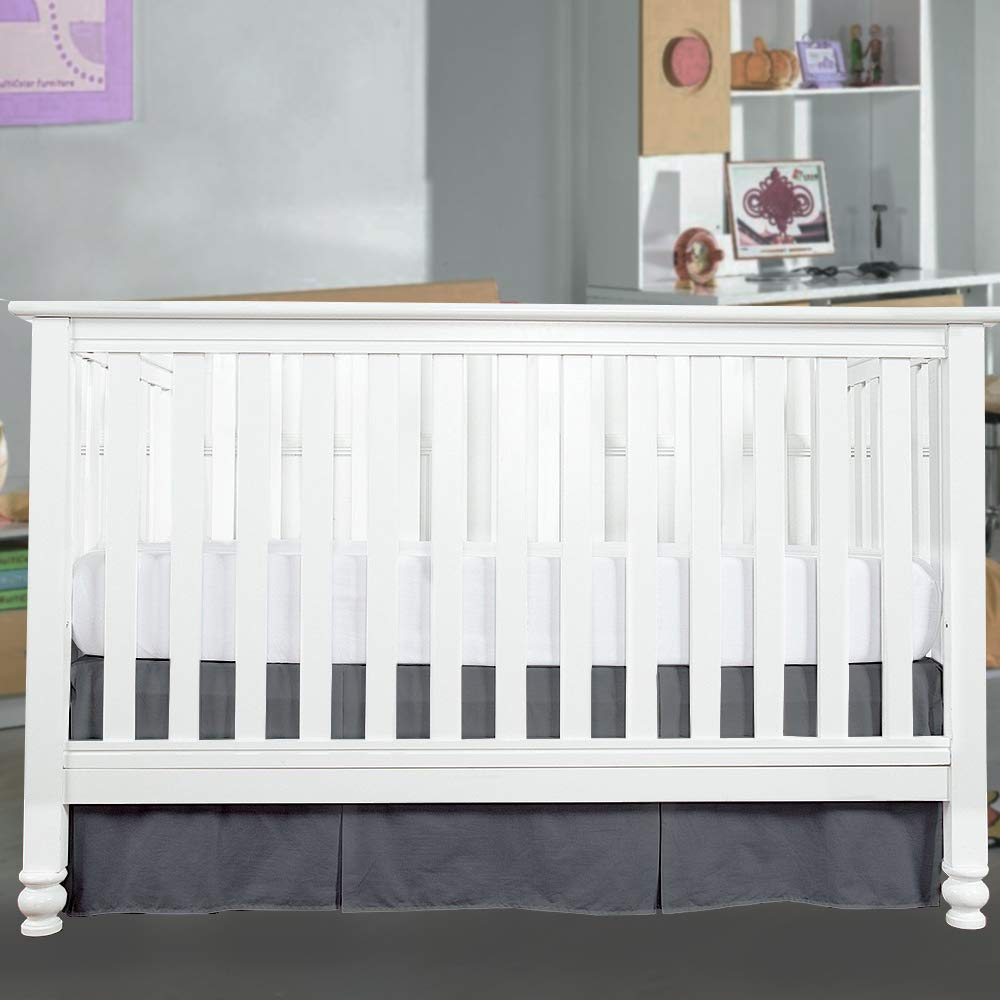 Crib Bed Skirt Pleated 14 Drop-White 100/% Natural Cotton Nursery Crib Toddler Bedding Skirts for Baby Boys or Girls