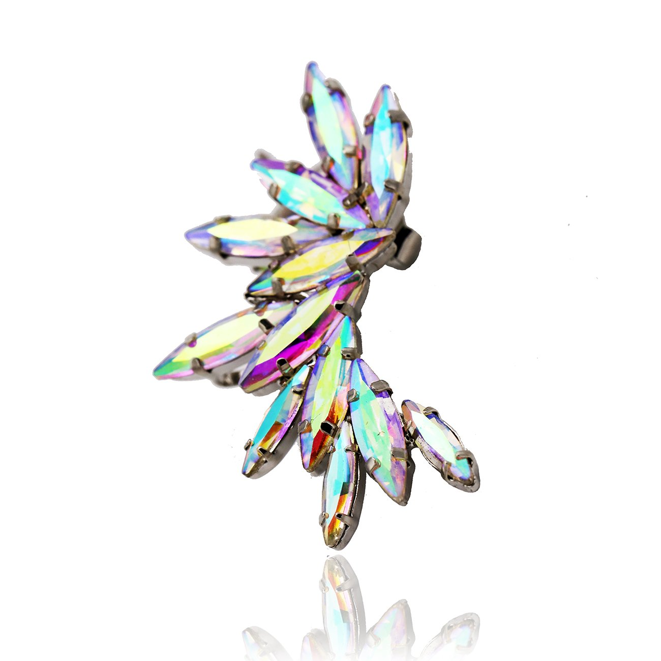 Wings Beyond the Rainbow Ear Cuff Clip-On Orris Crystal Mounted Earring Set