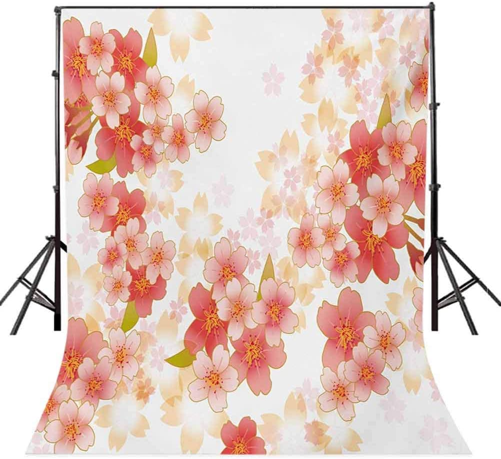 Japanese Sakura Flowers Cherry Blossoms in Vibrant Colors Illustration Background for Child Baby Shower Photo Vinyl Studio Prop Photobooth Photoshoot Floral 10x12 FT Photography Backdrop
