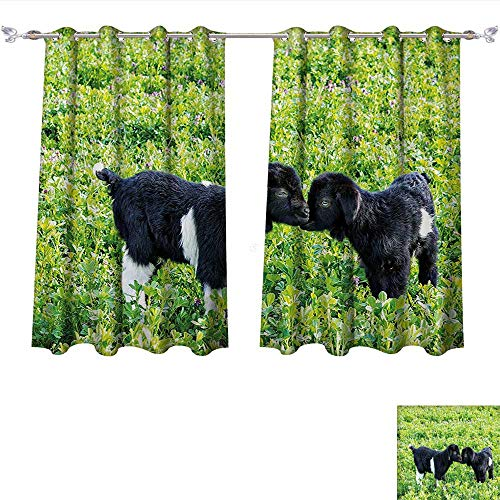 Curtain Hill Cotton (Thermal Insulating Blackout Curtain Baby Sheep with Nature Hills Garden Flowers Lavenders Grass Image Apple Green Fern Green Black Patterned Drape For Glass Door (W63 x L63 -Inch 2 Panels))