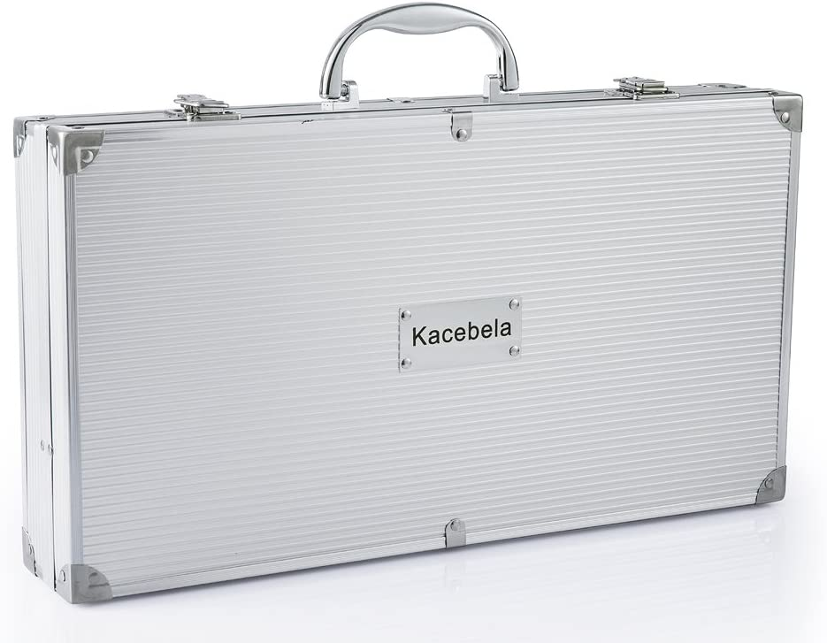 Kacebela Grilling Accessories with Storage Case, Grill BBQ Tools for Outdoor Barbecue Grilling Stainless Steel,19-Piece