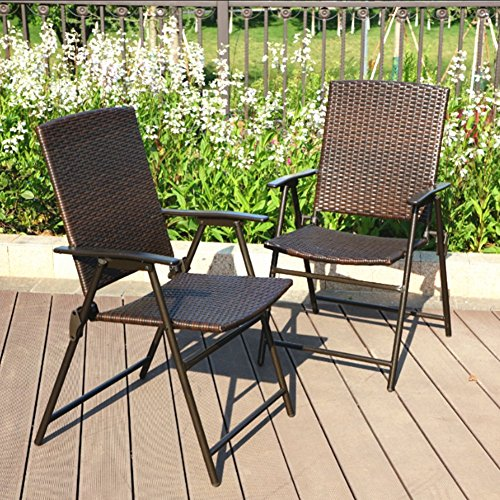 Folding Wicker - PHI VILLA Patio Rattan Folding Chair Indoor Outdoor Wicker Chair, 2 Pack