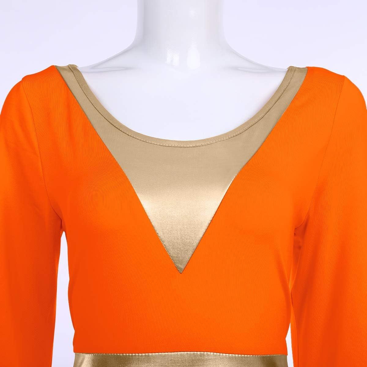 Women Metallic Color Block Liturgical Praise Dance Dress Bell Long Sleeve Lyrical Dancewear Gowns Worship Costume