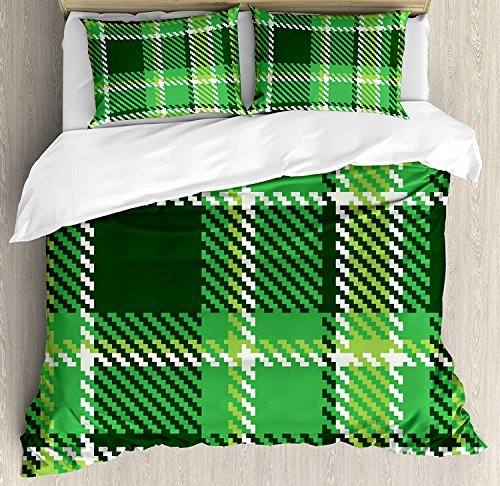 Checkered 4 Piece Bedding Set Duvet Cover Set Queen Size, Old Fashioned Irish British Tile Mosaic in Vibrant Green Colors, Luxury Bed Sheet for Childrens/Kids/Teens/Adults, Emerald Lime Green White