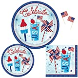 Patriotic Party Supplies for 18 Guests: Plates, Napkins and USA Flag Picks