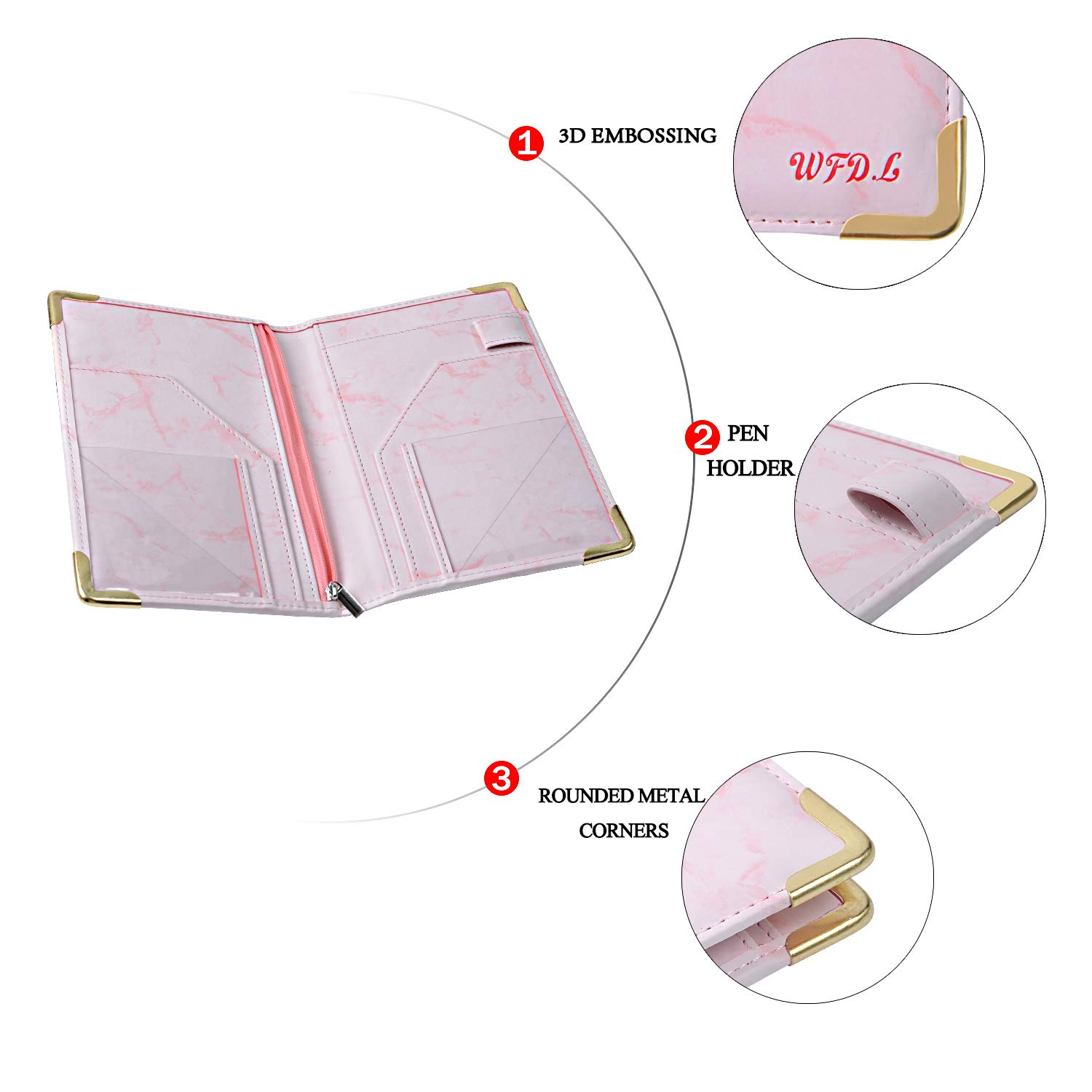WFD.L Waitress Book Deluxe Server Wallet for Restaurant Waiter Waitress Waitstaff | 9 Pockets Includes Zipper Pocket with Pen Holder | Fits in Apron+Includ 50 Sheet Guest Check Pads (Marble Pink) by WFD.L (Image #2)