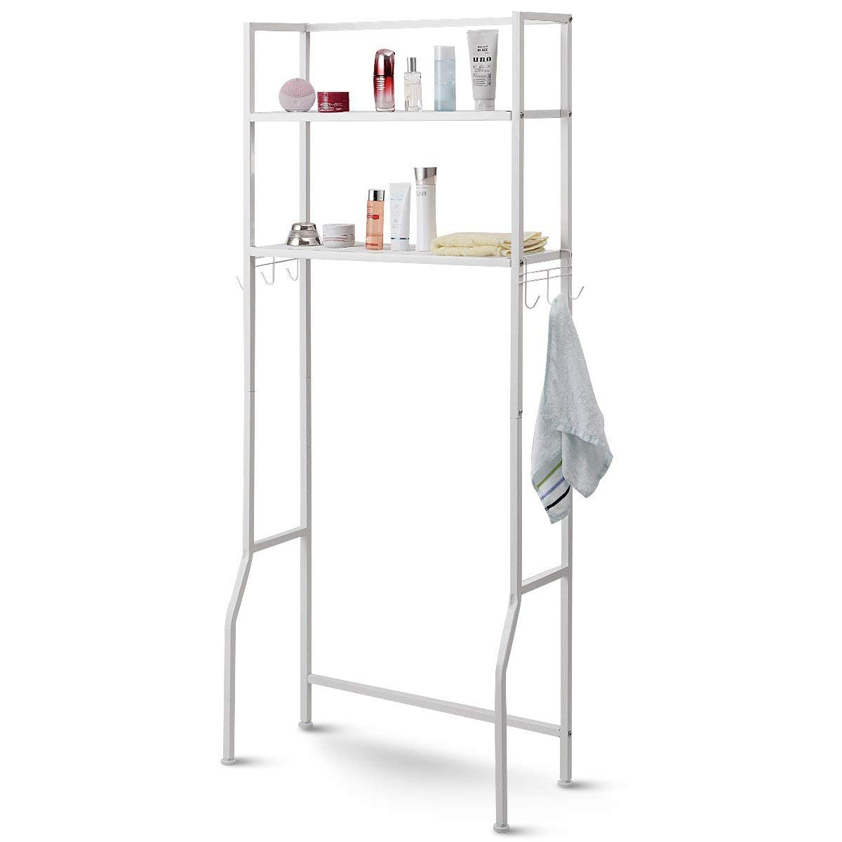 Giantex Over The Toilet Storage Bathroom Spacesaver, Multifunctional Standing Bathroom Space-Saving Storage Shelves with 2 Tier Storage Rack Utility Shelf for Toilet Laundry w/Hooks Adjustable Feet HW57751