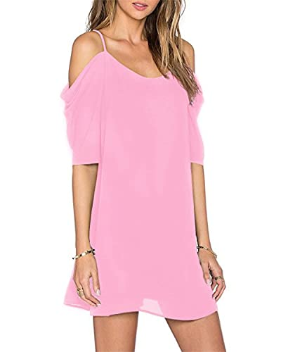 OUGES Women's Cut Out Cold Shoulder Puff Sleeve Spaghetti Strap Dress Top