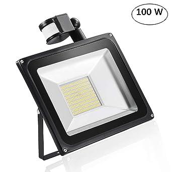 100W LED Außenlampe Fluter mit PIR Bewegungsmelder Kaltweiß Leuchte Flutlicht DE