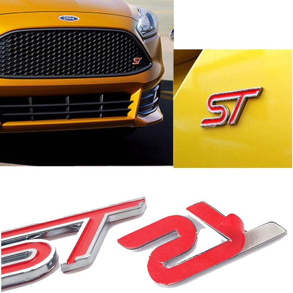 HUAYT 2 X Alliage ST calandre Logo /& ST de coffre Embl/ème arri/ère insigne daile de coffre,Autocollant de voiture D/écorations compatible pour Fiesta Focus Mondeo