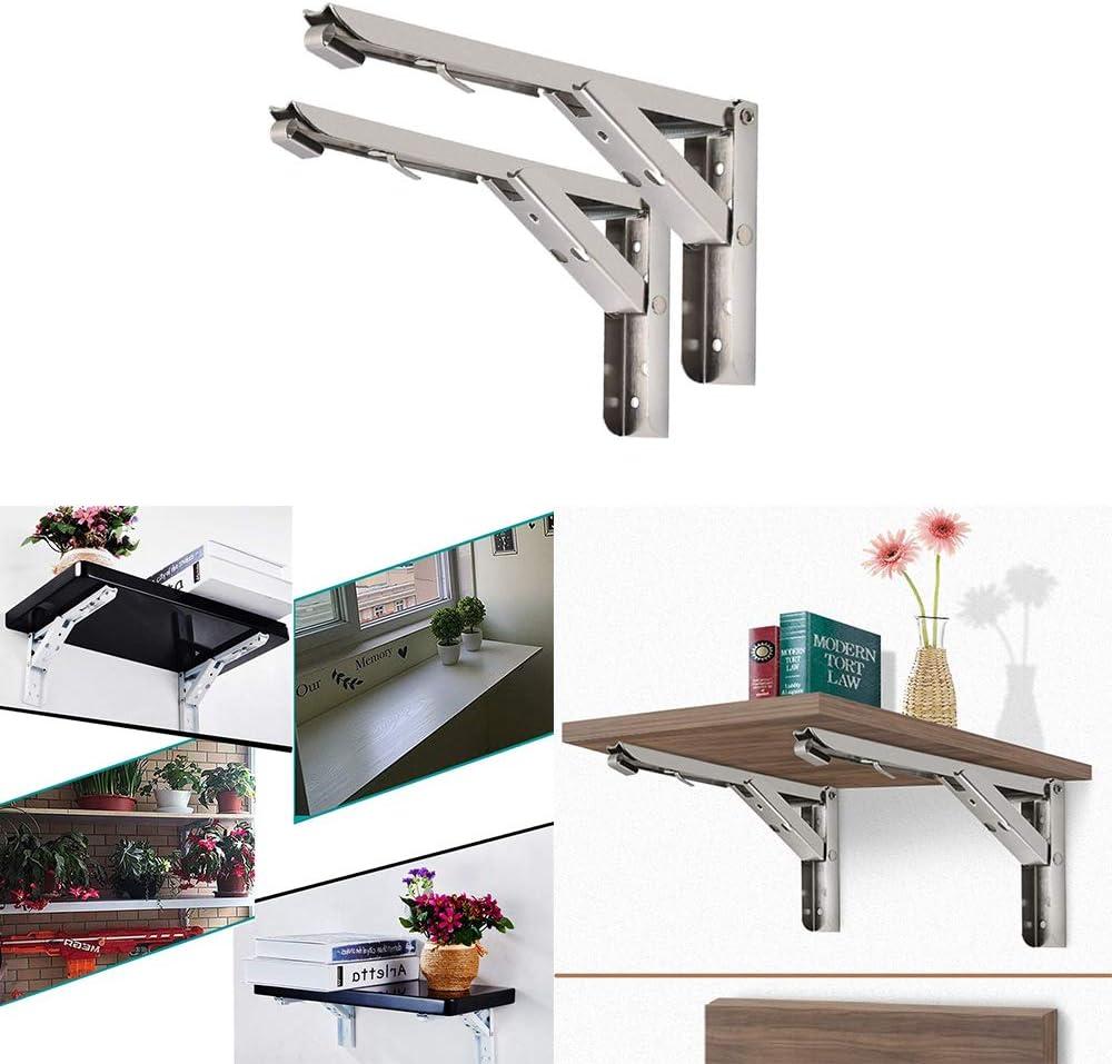 Konesky Folding Shelf Brackets Heavy Duty Stainless Steel Collapsible Shelf Bracket for Table Work Space Saving DIY Bracket 1 Pair