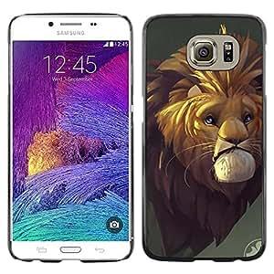 Slim Design Hard PC/Aluminum Shell Case Cover for Samsung Galaxy S6 SM-G920 Sad Lion Cartoon Fairy Tale Safari Africa Wild / JUSTGO PHONE PROTECTOR