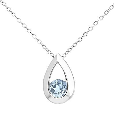 Citerna Women's 9 ct White Gold Teardrop Pendant on a Chain of Length 46 cm