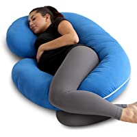 PharMeDoc Pregnancy Pillow with Blue Jersey Cover, C Shaped Full Body Pillow - Available in Blue, Pink, Grey