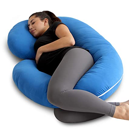 d38652a5a Amazon.com  PharMeDoc Pregnancy Pillow with Blue Jersey Cover