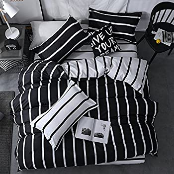 Chesterch Prevoster Microfiber Duvet Cover Set Black White Bedding Zebra Pattern,3 Piece,Stripe Comforter Cover and 2 Pillowcases,Twin Size
