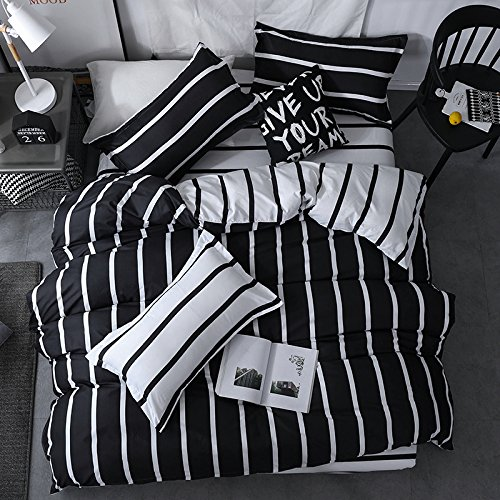 Chesterch Prevoster Microfiber Duvet Cover Set Black White Bedding Zebra Pattern,3 Piece,Stripe Comforter Cover and 2 Pillowcases,Full Queen Size (Black Duvet Set White And)