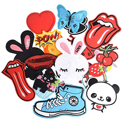 J.CARP Embroidered Iron on Patches, Cute Sewing Applique for Jackets, Hats, Backpacks, Jeans, DIY Accessories, (24pcs)